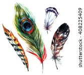 watercolor feathers set. hand... | Shutterstock . vector #408225409
