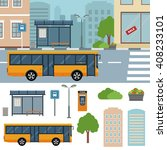 bus on the street in the town... | Shutterstock .eps vector #408233101
