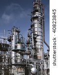 Detailed view of a petrochemical refinery.(Analog image) - stock photo