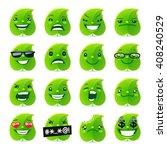 cartoon funny leaf emojis set... | Shutterstock .eps vector #408240529