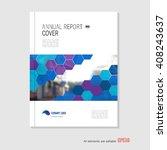 blue annual report leaflet... | Shutterstock .eps vector #408243637