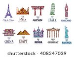 set of art ornamental travel on ... | Shutterstock .eps vector #408247039
