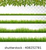 several grass borders. vector. | Shutterstock .eps vector #408252781