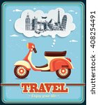 Vintage Travel Scooter Poster...