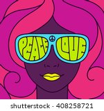 hippie love and peace poster.... | Shutterstock .eps vector #408258721