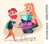 consumers with a full shopping... | Shutterstock .eps vector #408259954