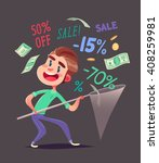 boy is catching discounts... | Shutterstock .eps vector #408259981