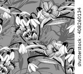 sketched snowdrops flowers... | Shutterstock . vector #408260134