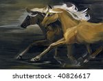Two Galloping Horses. Oil...