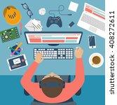 programmer at desk. workplace... | Shutterstock .eps vector #408272611