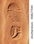 Print Of A Shoe In Desert Sand