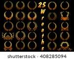 heraldic golden laurel wreaths... | Shutterstock .eps vector #408285094