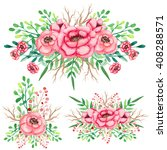 set of watercolor bouquets with ... | Shutterstock . vector #408288571
