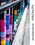 yarn colorful bombing on the... | Shutterstock . vector #408296395