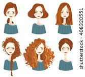 set of six cute redhead girl... | Shutterstock .eps vector #408320551