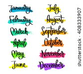 set of labels of the months of... | Shutterstock .eps vector #408333907