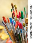 paints and brushes  | Shutterstock . vector #408336487
