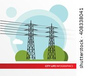 transmission tower. power line... | Shutterstock .eps vector #408338041