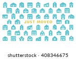 house moving greeting card.... | Shutterstock .eps vector #408346675