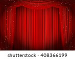 open red curtains with glitter... | Shutterstock . vector #408366199
