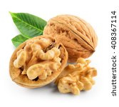 Walnuts With Leaves Isolated O...