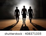 Three Young Men Boxing Workout...