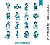 happy mothers day simple flat...   Shutterstock .eps vector #408383161