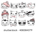 set of stylish cats. vector... | Shutterstock .eps vector #408384379