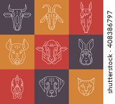 home animal heads   line icons... | Shutterstock .eps vector #408386797