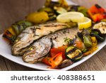 sea bass with grilled vegetables | Shutterstock . vector #408388651