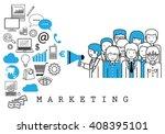 marketing team on white... | Shutterstock .eps vector #408395101