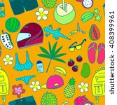 bali travel accessories pattern | Shutterstock .eps vector #408399961