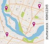 vector flat abstract city map... | Shutterstock .eps vector #408412345