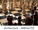 chess black and white pieces on ...   Shutterstock . vector #408416755