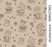 tea cup set  vector seamless... | Shutterstock .eps vector #408427801