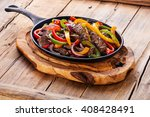 beef fajitas with colorful bell ... | Shutterstock . vector #408428491