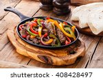 beef fajitas with colorful bell ... | Shutterstock . vector #408428497