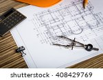 architect workplace top view. | Shutterstock . vector #408429769