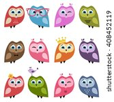 cute owls and owlets set.... | Shutterstock . vector #408452119