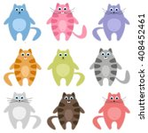 cute colorful cats set. raster... | Shutterstock . vector #408452461