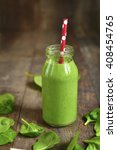 fresh homemade spinach smoothie ... | Shutterstock . vector #408454765