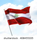 flag of lebanon raised up in... | Shutterstock . vector #408455335