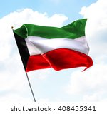 flag of kuwait raised up in the ... | Shutterstock . vector #408455341