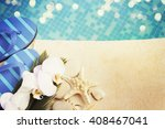 flip flops by the swimming pool | Shutterstock . vector #408467041