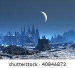 New Moon Over Blue Alien Plane...