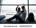 mother and son sitting near... | Shutterstock . vector #408483061