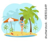 woman in a swimsuit on the... | Shutterstock .eps vector #408501649
