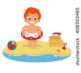 little boy on the beach. boy... | Shutterstock .eps vector #408503485