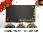 spices and herbs in big glass... | Shutterstock . vector #408506485