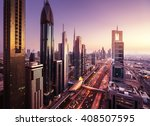 Dubai skyline in sunset time, United Arab Emirates
